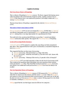 Preview of AS Psychology Edexcel Unit 1 Cognitive Approach