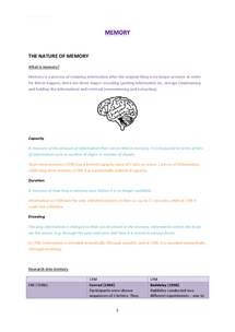 Preview of AS Psychology revision - memory