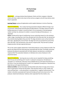 Preview of AS Psychology, Unit 1, Developmental Psychology - Attachment