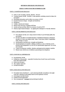 Preview of AS Revision Checklist