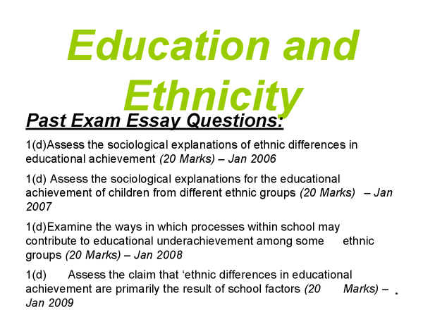 Preview of AS Sociology - Education - Ethnicity