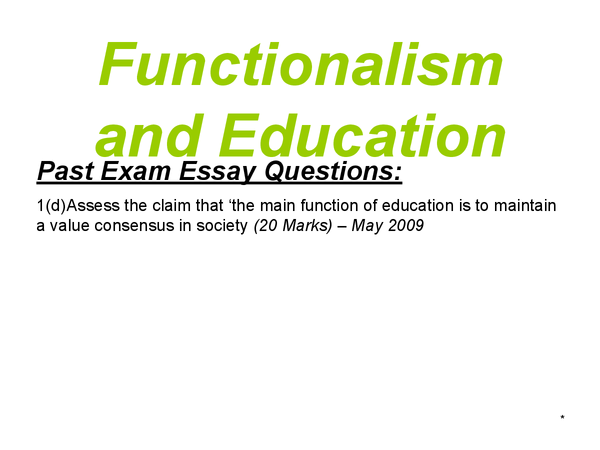 Preview of AS Sociology - Education - Functionalism