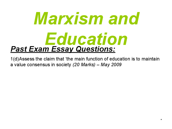 Preview of AS Sociology - Education - Marxism