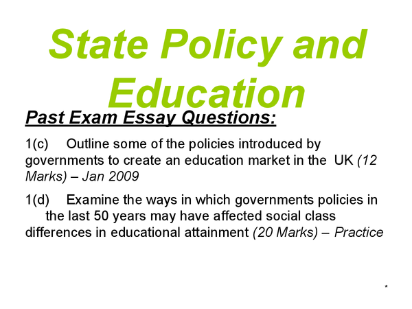 outline some of the policies introduced S outline some of the policies introduced by the governments to create an education market in the uk educational policies are strategies for education introduced by the government, the state have become increasingly involved in education and its policies now have a major impact on pupils' opportunities and achievements.