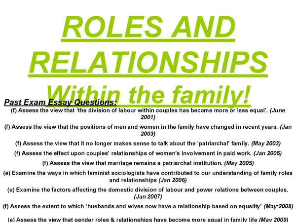 Preview of AS Sociology - Family - Roles and relationships within the family revision cards/powerpoint