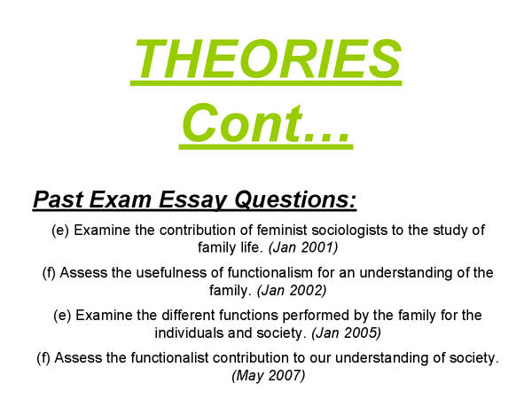 Preview of AS Sociology - Family - Theories/ Essay plans Presentation/Revision cards