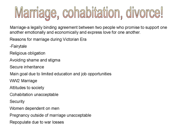 Preview of AS sociology- powerpoint about Marriage, Divorce and Cohabitation