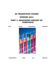 Preview of AS TRANSITION COURSE,MEASURING AMOUNT OF SUBSTANCE