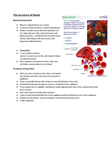 Preview of AS Unit 1 Biology Module 1 structure of the blood