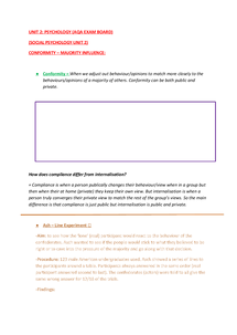 Preview of AS UNIT 2:SOCIAL PSYCHOLOGY (AQA)