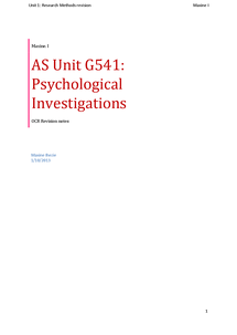 Preview of AS Unit G541: Psychological Investigations (revision booklet)