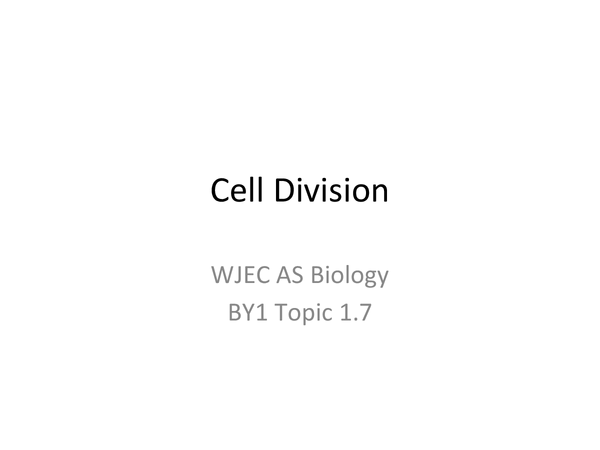 Preview of AS WJEC BY1 - 1.7 Cell Division