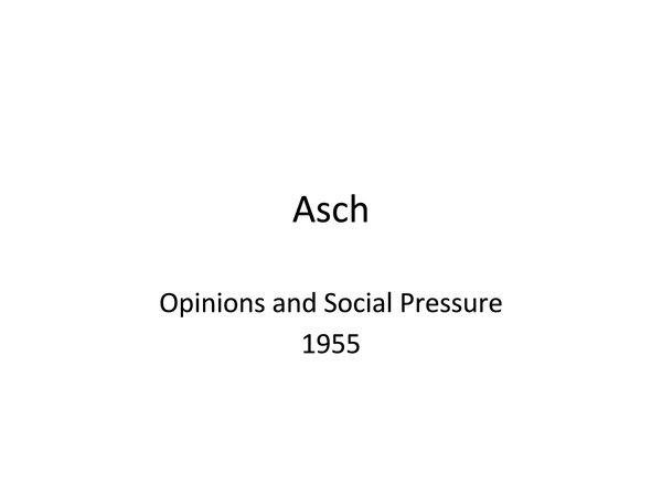 Preview of Asch's Study into Conformity