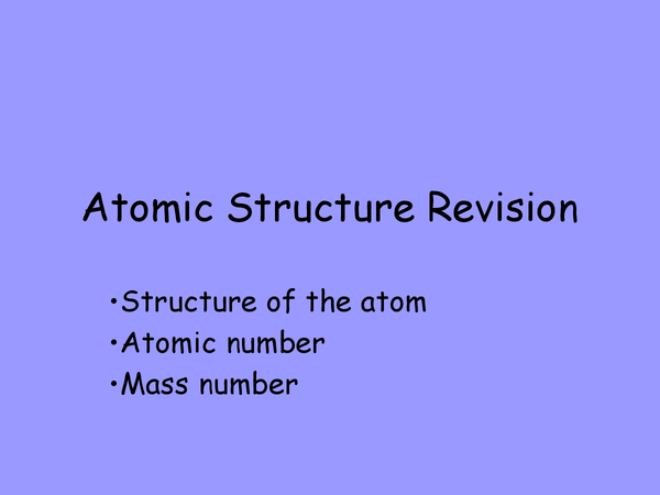 Preview of Atomic structure