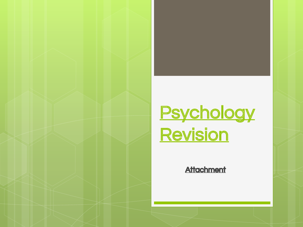 Preview of Attachment Unit 1 Psychology revision powerpoint