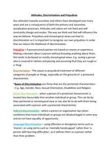 Preview of Attitudes, Discrimination and Prejudices