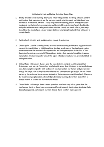 Preview of Attitudes to Food and Eating Behaviour Essay Plan