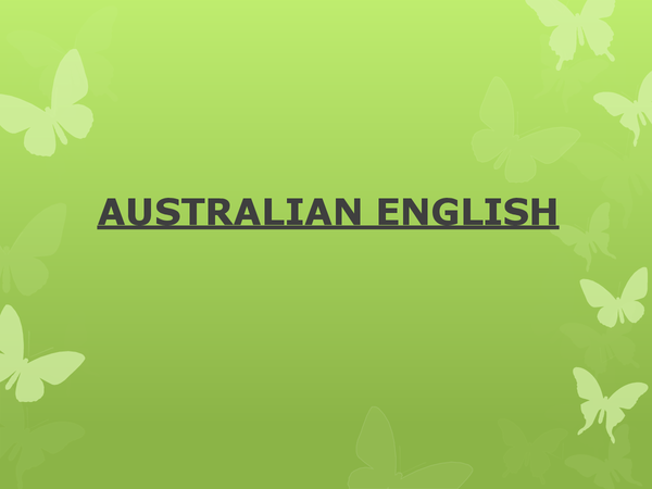 Preview of AUSTRALIAN ENGLISH