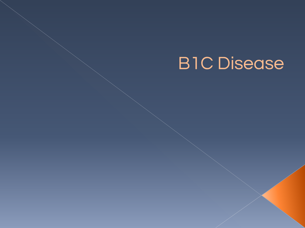 Preview of B1C revision - Disease