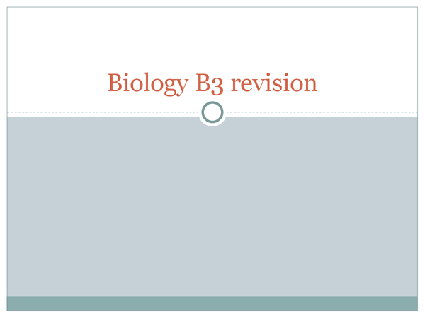 Preview of B3 Biolgoy revision