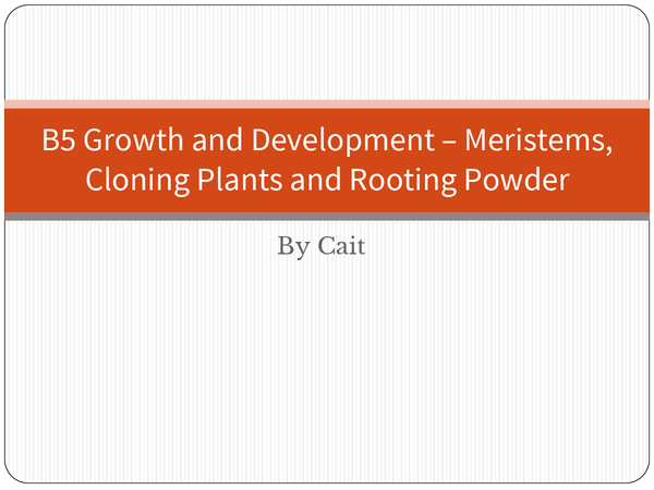 Preview of B5 – Meristems, Cloning Plants and Rooting Powder