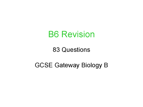 Preview of B6 revision
