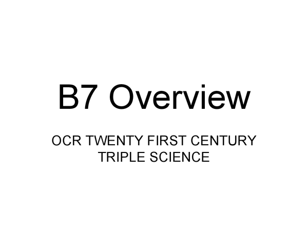Preview of B7 review
