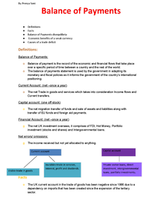 Preview of Economics Unit 4- Balance of Payments (full topic notes)
