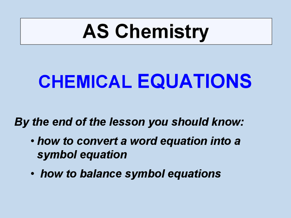 Preview of Balancing chemical equations as