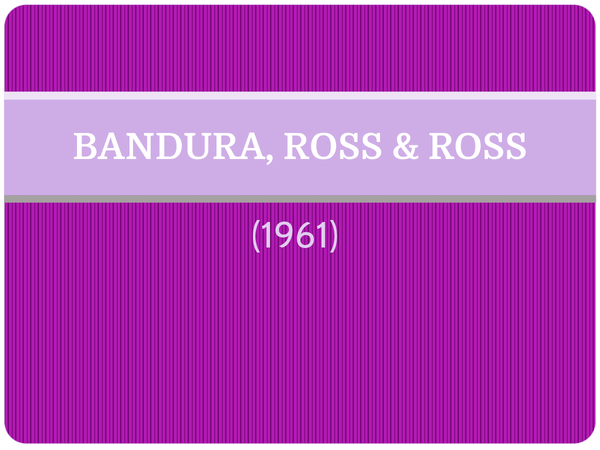 Preview of Bandura (1961) - AS Core Study