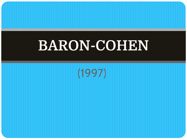Preview of Baron-Cohen (1997) - AS Core Study