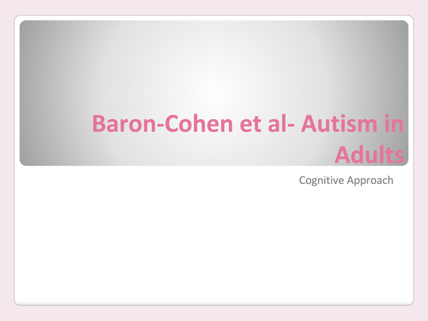 Preview of Baron-Cohen - Autism