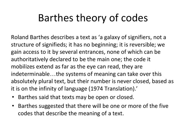 Preview of Barthes Theory of codes