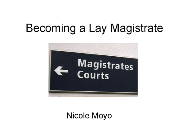Preview of Becoming a Lay Magistrate