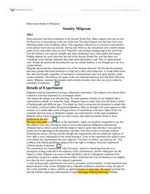 Preview of Behavioural study of obedience: Stanley Milgram