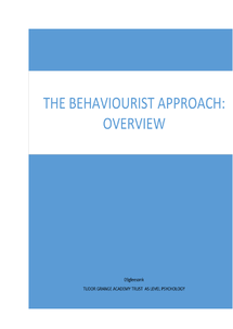 Preview of Behaviourist Approach Overview