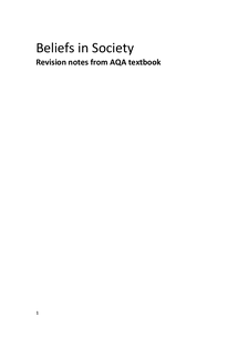 Preview of Beliefs in Society Revision Notes- taken from AQA textbook