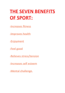 Preview of BENEFITS OF SPORT- 7