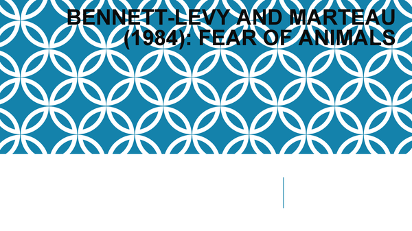 Preview of Bennett-Levy and Marteau (1984): Fear of animals