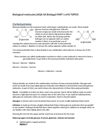 Preview of Biological molecules AQA AS Biology PART 1 OF 8 TOPICS: Carbohydrates