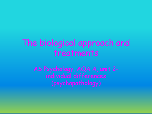 Preview of biological approach, treatments and evaluations