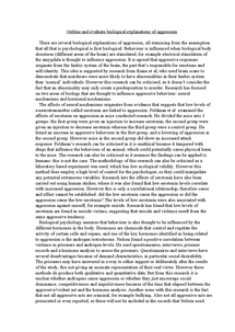 Preview of biological explanations of aggression 25 marks essay