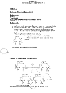 Preview of Biological Molecules/ Biochemistry : AS Biology (2008  NEW OCR course)