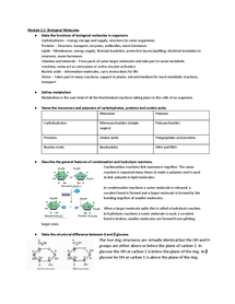 Preview of OCR AS BIOLOGY: Biological Molecules Spec Notes
