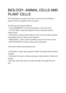 Preview of BIOLOGY- ANIMAL CELLS AND PLANT CELLS