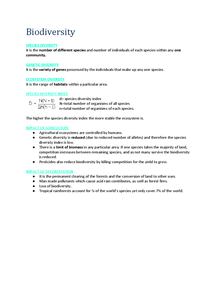 Preview of Biology AS AQA Unit 2 Biodiversity