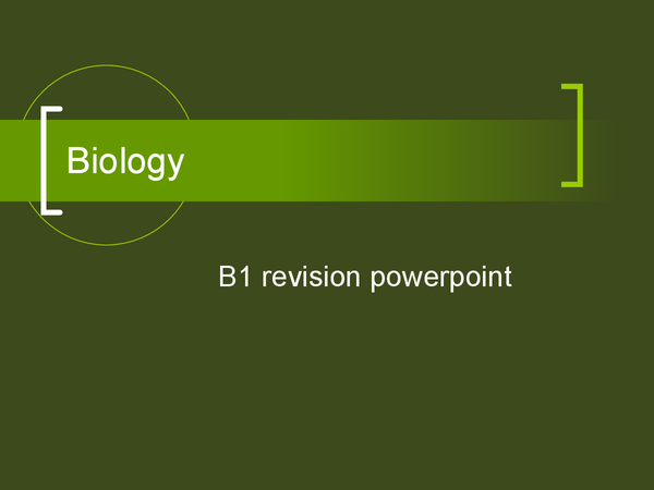 Preview of Biology B1 powerpoint