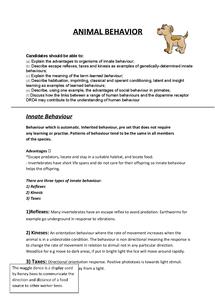 Preview of BIOLOGY F215 OCR- Animal Behavior