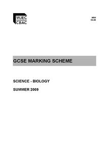Preview of Biology marking scheme 2009