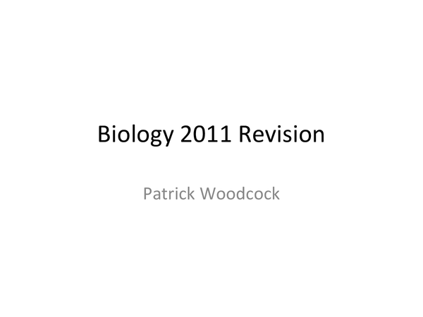 Preview of Biology Revision- Cells